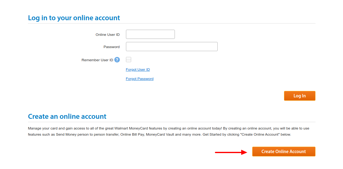 Walmart MoneyCard Log In
