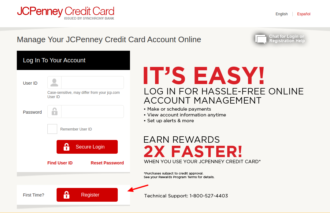 JCPenney Credit Card Register