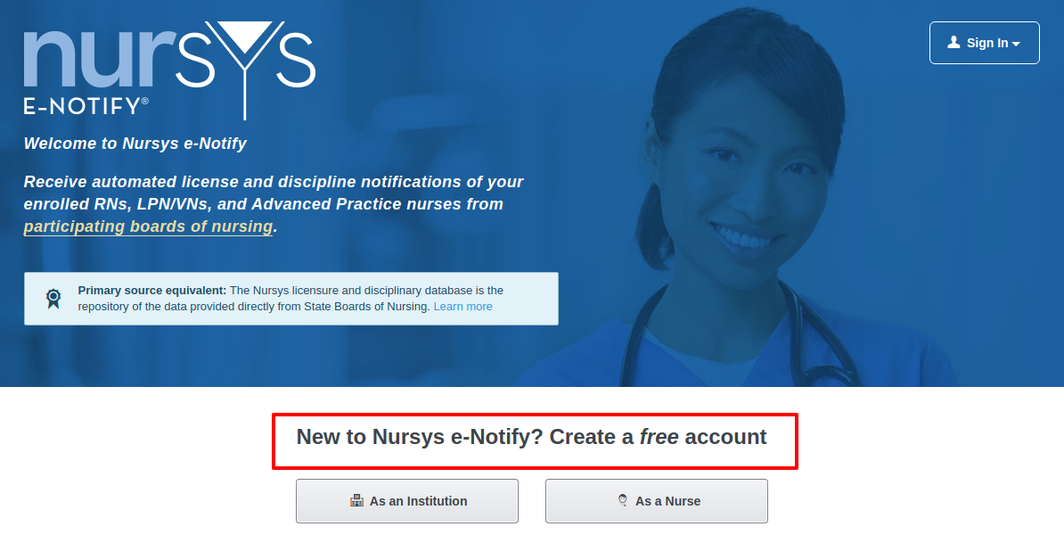 Nursys e-notify Create Account