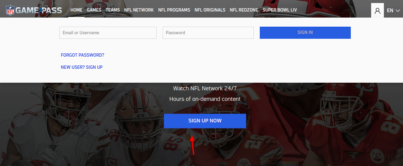NFL - Game Pass sign up