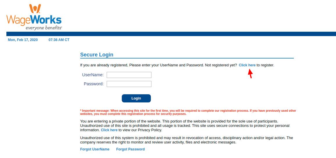 WageWorks Employee Register