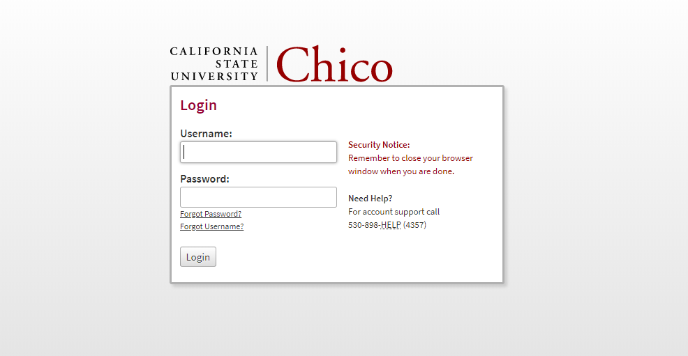 Log in to CSU Chico account
