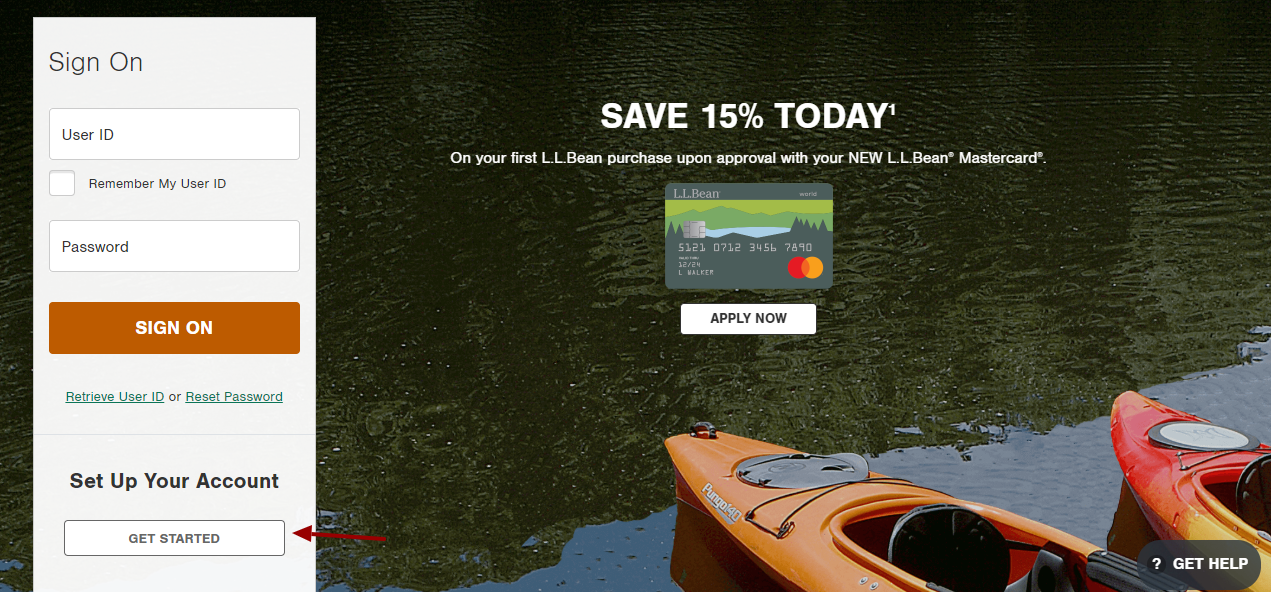 l.l.bean mastercard Account Set Up